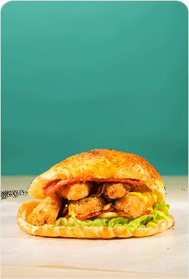 鱼排培根烤汉堡